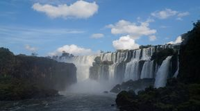 Iguazu Falls waterfall close up views from the Argentinian side.  Royalty Free Stock Photos