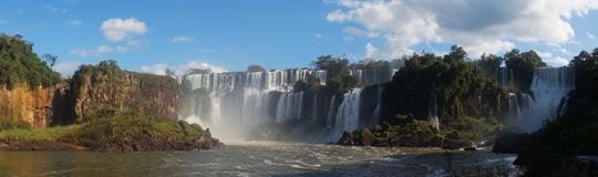 Iguazu Falls waterfall close up views from the Argentinian side.  Stock Photos