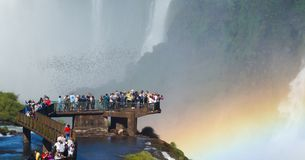 Iguazu Falls Waterfall with Rainbows and Spray as seen from the Brazil Side.  Stock Photos