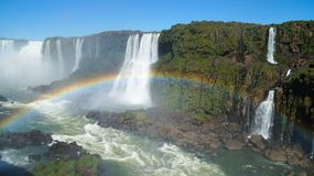 Iguazu Falls Waterfall with Rainbows and Spray as seen from the Brazil Side.  Royalty Free Stock Photos