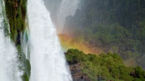 Iguazu Falls Waterfall with Rainbows and Spray as seen from the Brazil Side.  Stock Image