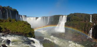 Iguazu Falls Waterfall with Rainbows and Spray as seen from the Brazil Side.  Royalty Free Stock Photography