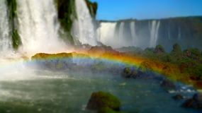 Iguazu Falls Waterfall with Rainbows and Spray as seen from the Brazil Side.  Stock Photography