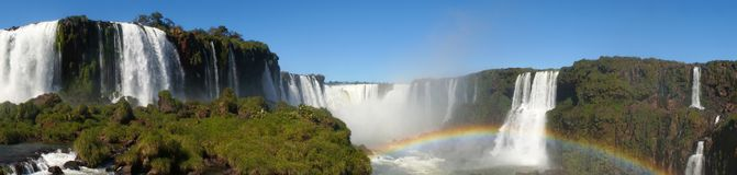 Iguazu Falls Waterfall with Rainbows and Spray as seen from the Brazil Side.  Royalty Free Stock Photo