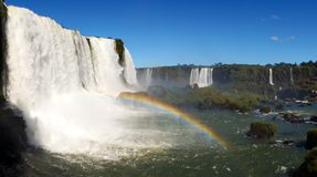 Iguazu Falls Waterfall with Rainbows and Spray as seen from the Brazil Side.  Stock Images
