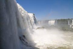 Iguazu/Iguacu Falls at Eye-level. An eye-level view of the Iguazu falls as seen from Brazil royalty free stock image