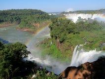 Iguazu tęcza i spadki Zdjęcia Royalty Free