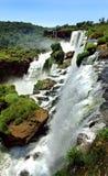Iguazu vattenfall i Argentina och Brasilien Arkivfoton