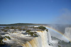 Iguazu-Wasserfallregenbogen auf sonnigem Stockbilder