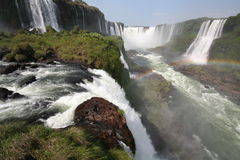 Iguazu Water Falls. Rainbow sight Royalty Free Stock Photos