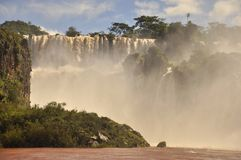 Iguazu waterfall from below. Argentinian side Royalty Free Stock Photos