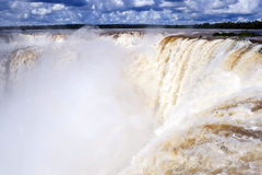 Iguazu waterfalls in Argentina. Iguazu watefall The Devil's Throat in Argentina, view from top royalty free stock photography