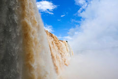 Iguazu waterfalls in Brazil. Panoramic view from down of waterfalls stock photo