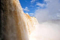 Iguazu waterfalls in Brazil. View from midlle level, South America royalty free stock image