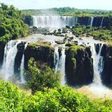 Iguazu Waterfalls. Iguazu Iguacu falls, largest series of waterfalls on the planet, located between Brazil, Argentina, and Paraguay with up to 275 separate stock photo