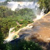 Iguazu Waterfalls. Iguazu Iguacu falls, largest series of waterfalls on the planet, located between Brazil, Argentina, and Paraguay with up to 275 separate Royalty Free Stock Photos