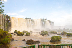 Iguazu Waterfalls National Park. Iguazu Iguacu falls, largest series of waterfalls on the planet, located between Brazil, Argentina, and Paraguay with up to 275 stock photography