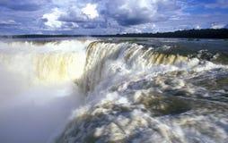 Iguazu Waterfalls in Parque Nacional Iguazu, Garganto del Diablo Salto Union, border of Brazil and Argentina Royalty Free Stock Image