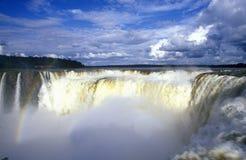 Iguazu Waterfalls in Parque Nacional Iguazu, Garganto del Diablo Salto Union, border of Brazil and Argentina Royalty Free Stock Photography