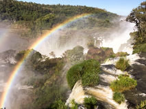 Iguazu Waterfalls Rainbow. Iguazu Iguacu falls, largest series of waterfalls on the planet, located between Brazil, Argentina, and Paraguay with up to 275 Royalty Free Stock Image
