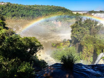 Iguazu Waterfalls Rainbow. Iguazu Iguacu falls, largest series of waterfalls on the planet, located between Brazil, Argentina, and Paraguay with up to 275 stock image