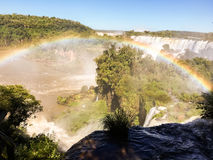 Iguazu Waterfalls Rainbow. Iguazu Iguacu falls, largest series of waterfalls on the planet, located between Brazil, Argentina, and Paraguay with up to 275 Royalty Free Stock Photo