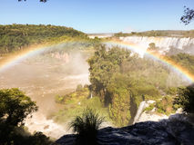 Iguazu Waterfalls Rainbow. Iguazu Iguacu falls, largest series of waterfalls on the planet, located between Brazil, Argentina, and Paraguay with up to 275 royalty free stock photography