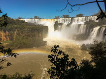 Iguazu Waterfalls Rainbow. Iguazu Iguacu falls, largest series of waterfalls on the planet, located between Brazil, Argentina, and Paraguay with up to 275 stock photography