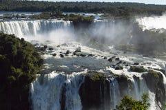 Iguazudalingen op een heldere zonnige dag stock afbeeldingen