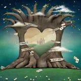 Ihålig hjärta för träd royaltyfri illustrationer