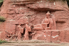 Ih embarazada del elefante de la piedra- del acantilado del Monte Emei el sueño foto de archivo