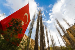 Ihlara Valley with Turkey flag, Rock Site of Cappadicia. Ihlara Valley with Turkey flag, Rock Site of Cappadicia, Goreme international park, Turkey stock images