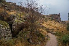 Ihlaravallei in Cappadocia De Ihlaravallei, Peristrema-het Klooster of Ihlara-de Kloof zijn de beroemdste vallei in Turkije voor  stock foto's