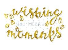 Ihnen fröhliches Momente Gold und silberne funkelnde elegante moderne BürstenBriefgestaltung auf einer Wight rastr Illustration w Lizenzfreies Stockfoto