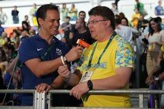 Ihor Zhdanov,乌克兰的青年时期和体育的大臣在电视采访中的在妇女` s马刀个体以后 免版税图库摄影