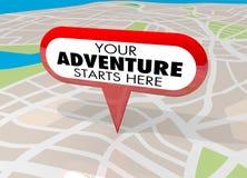Ihr Abenteuer beginnt hier Karte Pin Fun Begins Now 3d Illustratio vektor abbildung