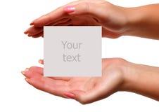 Ihr Text auf der Hand Lizenzfreies Stockfoto