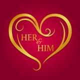 Ihr und er Text im abstrakten Goldherzrahmen auf rotem Hintergrundvektordesign vektor abbildung