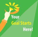 Ihr Ziel beginnt hier Motivations-Illustration Lizenzfreies Stockfoto
