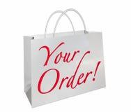 Ihre Bestellungs-Einkaufstasche-neue Waren-bereiten Wörter 3d Illustrat Stockfotografie