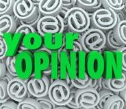 Ihre Meinung 3D am E-Mail-Symbol-Hintergrund-Feed-back Stockfotografie