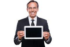 Ihre Mitteilung auf seiner Tablette Stockbild