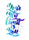 Ihre nur Grenze ist Sie Kalligraphie-Aquarell-Beschriftung Lizenzfreies Stockfoto