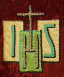 IHS, symbolic monogram tapestry for Jesus Royalty Free Stock Photo
