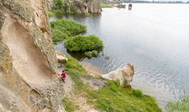 Aerial view of Fisherman fishing in Lake Emre in Phrygia Valley Natural Park Frig stock photography
