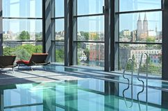 ii dachowy basenu dopłynięcie Zdjęcia Royalty Free