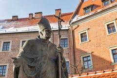 ii John Paul pope statua Wawel, Krakow, Polska Obraz Stock