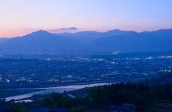Iida city at dusk Royalty Free Stock Photo