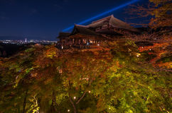 Iight up laser show at kiyomizu dera temple Stock Photo