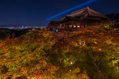 Iight up laser show at kiyomizu dera temple Royalty Free Stock Image